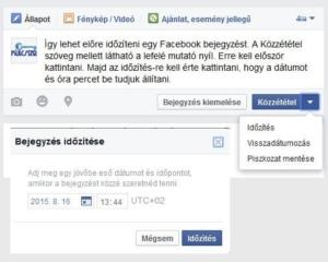 facebook bejegyzés időzités